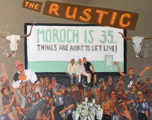 Celebrating 35 years Moroch Advertising, knock out gift to client, celebrate milestone with a painting capturing the event.