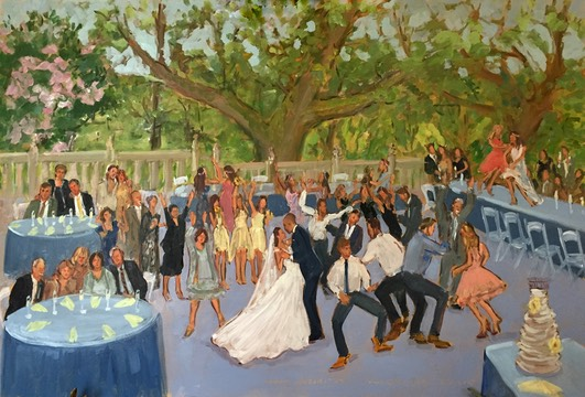 Wedding at Morris Arboritum painted live as it was happening by The Event Painter, Joan Zylkin.