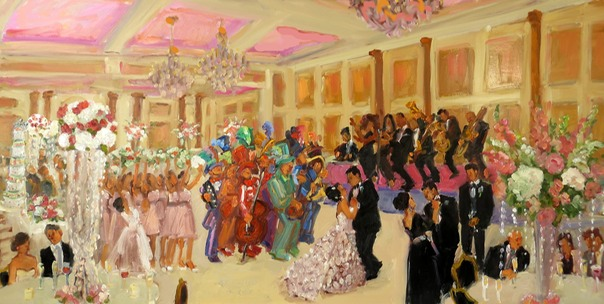 Wedding at the Merion NJ: live event painting with the Mummers String Band by Joan Zylkin The Event Painter