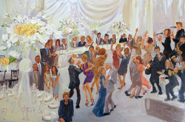 Anniversary party at The Curtis Atrium Philadlephia:  live-event artist captures 50th Wedding Anniversary … painted live as a surprise gift to parents who said they didn't need anything ... !!