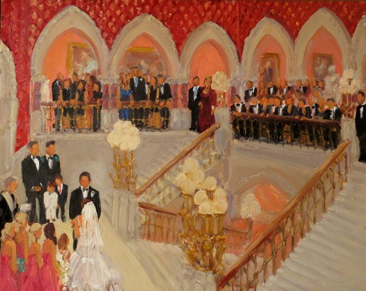 WEDDINGS AT PAFA: live event painting by Joan Zylkin The Event Painter.
