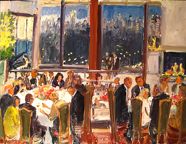 Retirement Party at Per Se, NYC becomes a live event painting throughout the eventing and a gift for the Honoree.