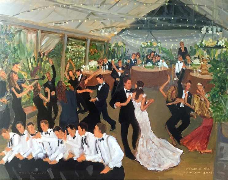 Philadelphia Horticultural Center Wedding live event painting by Joan Zylkin The Event Painter.