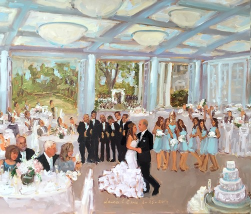 Live event painting at Radnor Valley CC wedding by The Event Painter, Joan Zylkin.