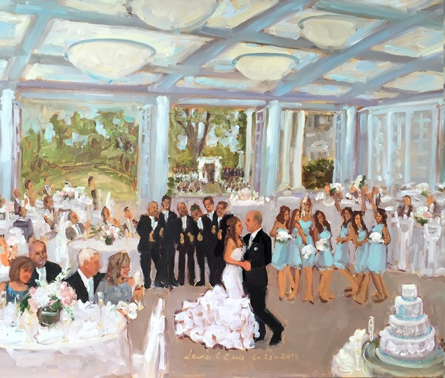 wedding celebrations captured in a live event painting as they were happening by The Event Painter Joan Zylkin.