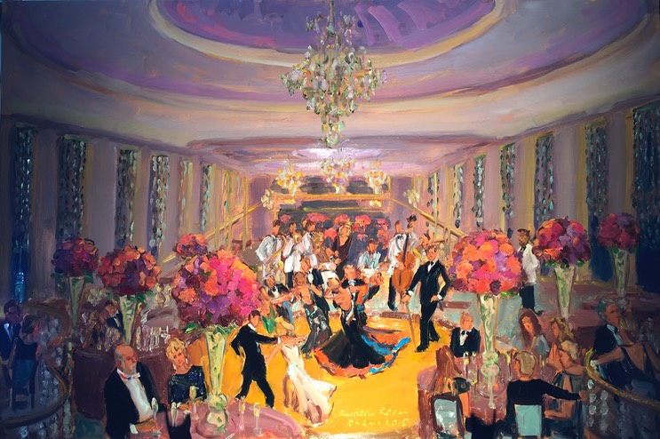 New York live event painting at the Rainbow Room, special birthday celebration, group gift from guests.