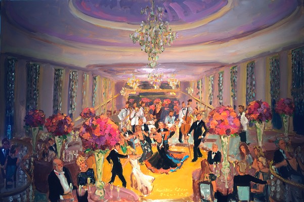The Rainbow Room NYC live event painting at a very special birthday party, a gift from all the guests.