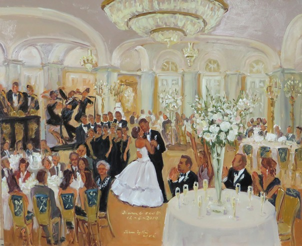 Weddings at the Ritz Carlton, live event painting by Joan Zylkin The Event Painter, December wedding.