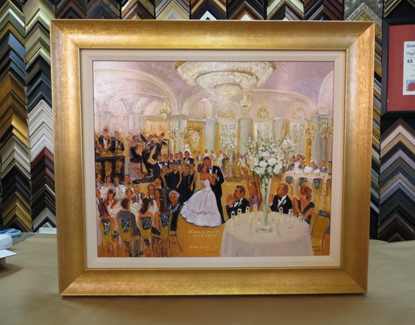 Wedding at the Ritz Carlton, painted live and framed by Joan Zylkin The Event Painter, Philadelphia.