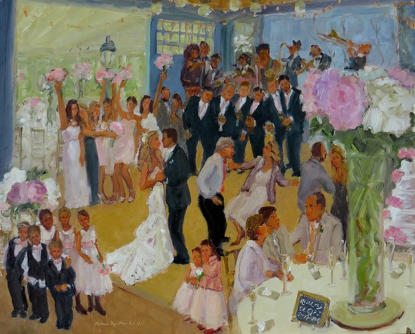Wedding at The Carriage House DE painted live by Joan Zylkin The Event Painter.