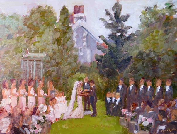 Wedding ceremony at Rockwood Park painted from photos by Joan Zylkin The Event Painter.