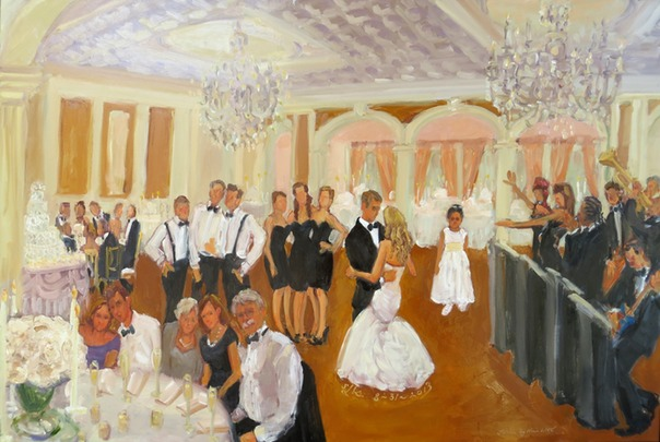 Saucon Valley CC Wedding painting in the Lehigh Valley by Joan Zylkin The Event Painter