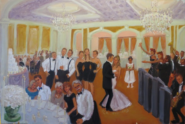 Wedding Painting from photos after the event by Joan Zylkin The Event Painter.