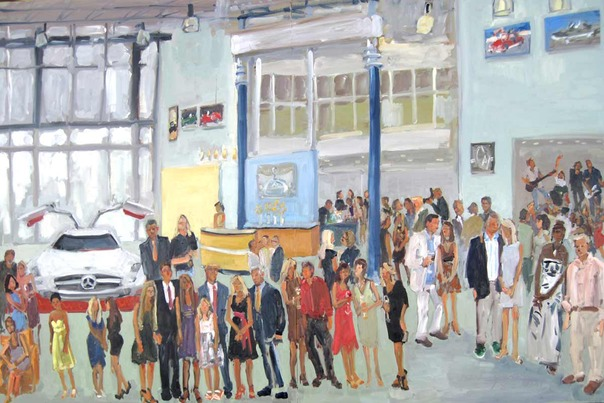 Live Event Painting of Gala Opening of new Lokey Mercedes Benz Showroom ~ painted during the evening and including VIPs and Guests.