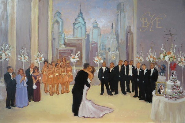 Philadelphia wedding painted from photos after the event.  Event painting from photos by Joan Zylkin The Event Painter.