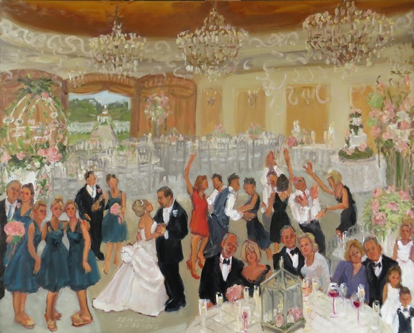 WEDDING at the Colonial Inn, NJ,  live wedding painting by Joan Zylkin The Event Painter