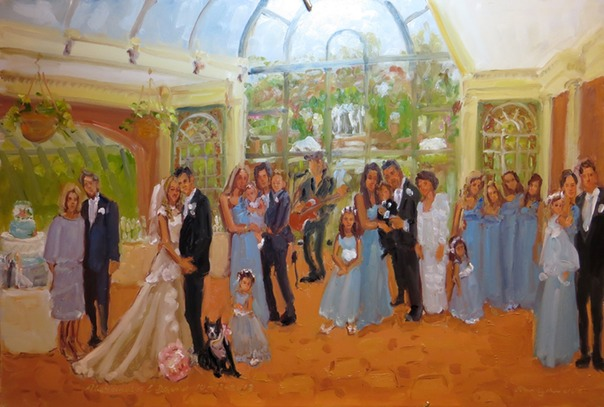 Wedding at The Manor. West Orange NJ, live event painting at an afternoon wedding by Joan Zylkin The Event Painter.