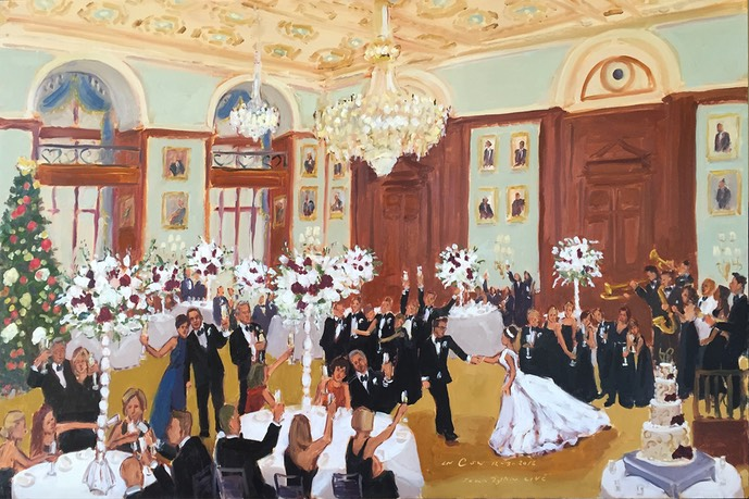 Holiday wedding at the Union League Philadelphia painted live by The Event Painter Joan Zylkin.