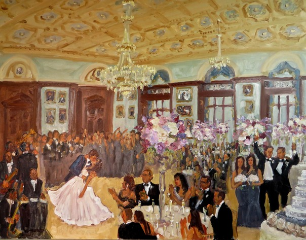 Wedding at the Union League Philadelphia painted live by Joan Zylkin The Event Painter.