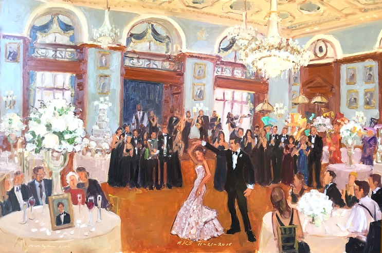 Philadelphia Wedding painted live at the Union League by Joan Zylkin The Event Painter.