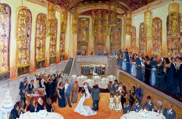 Weddings at Union Trust LIve Event Painting by Joan Zylkin Philadelphia.
