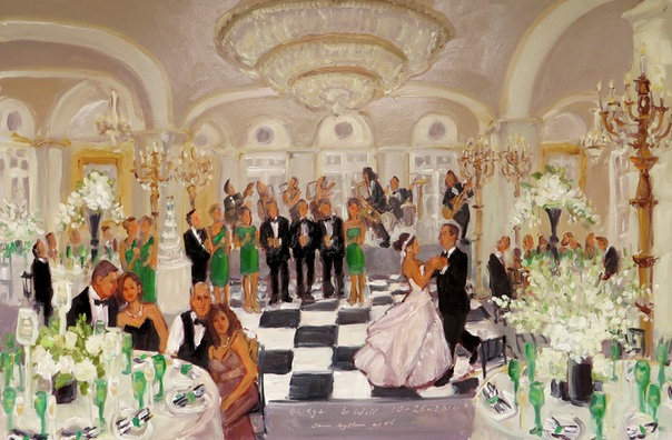 Wedding at the Ritz Carlton, Philadelphia, painted live by Joan Zylkin The Event Painter.