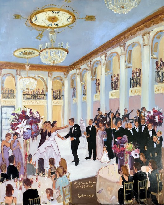 Ballroom at the Ben wedding, Live  event painting at wedding, Philadelphia The Event Painter, Joan Zylkin