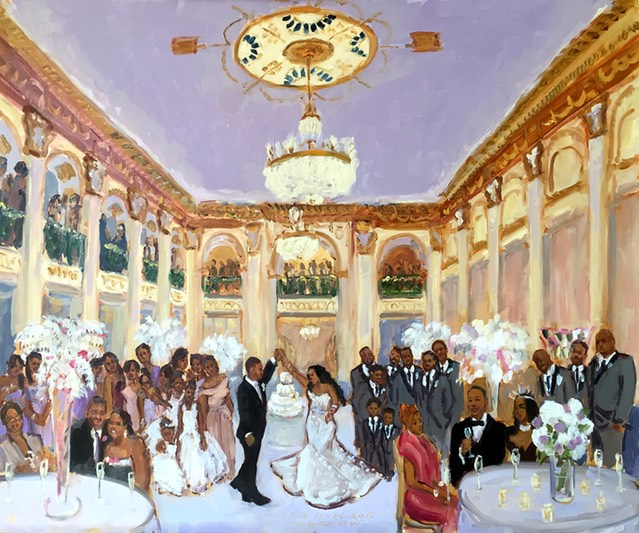 Philadelphia wedding at the Ballroom at The Ben, live event painting by The Event Painter, Joan Zylkin