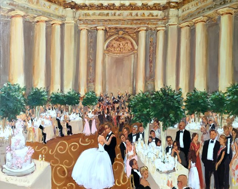 Mellon Auditorium DC wedding painted live by The Event Painter Joan Zylkin