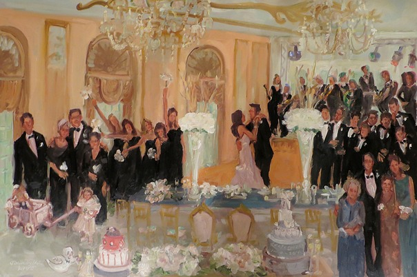 "Live event painting at a wedding at the ""haunted"" Dallas Adolphus, with champagne toast by Casper wearing black tie.  Joan Zylkin The Event Painter."
