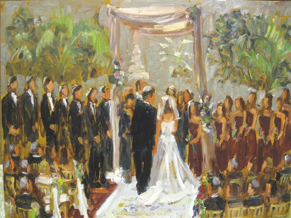 wedding at The Doubletree, live event painting by Joan Zylkin The Event Painter.
