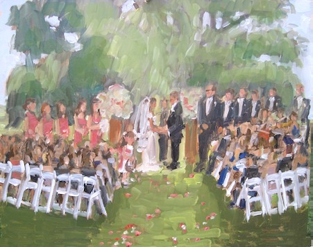 wedding painter Brooklyn NY.  wedding at Brooklyn Botanic Garden painted live by Joan Zylkin The Event Painter.